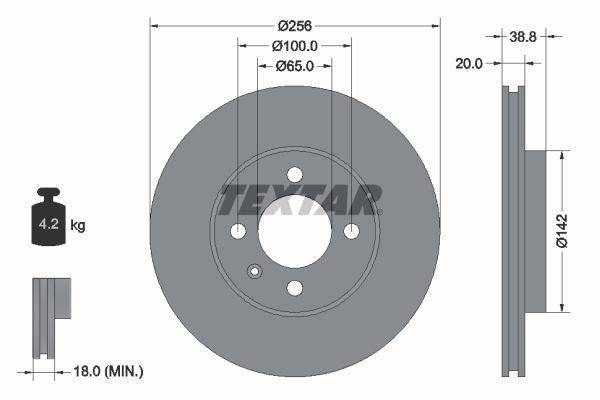 Achetez Disque de frein TEXTAR 92036803 (Ø: 256mm, Épaisseur du disque de frein: 20mm) à un rapport qualité-prix exceptionnel