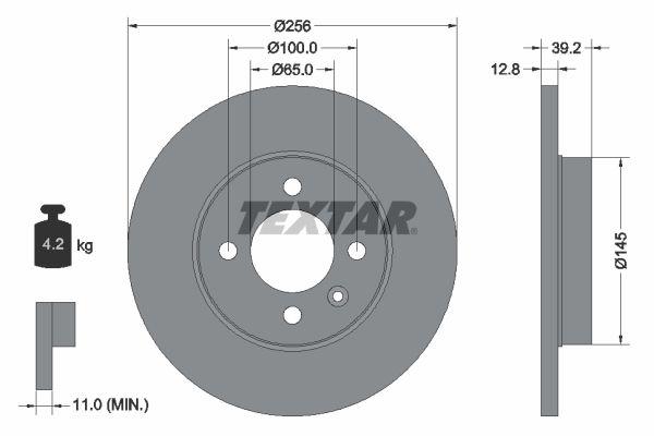 TEXTAR: Original Bremsscheibe 92041703 (Ø: 256mm, Bremsscheibendicke: 12,8mm)