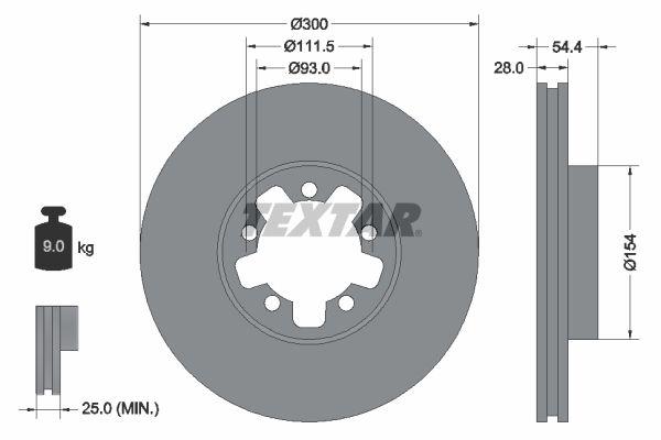 Купете 98200151901PRO TEXTAR PRO вътрешновентилиран, с покритие, без болтове за закрепване на колелата, без колесна главина Ø: 300мм, дебелина на спирачния диск: 28мм Спирачен диск 92151903 евтино
