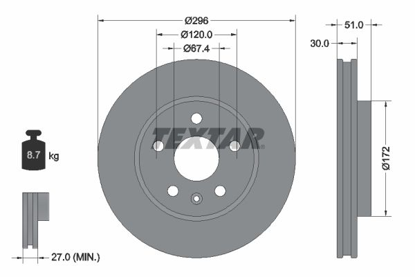 TEXTAR: Original Bremsscheiben 92186903 (Ø: 296mm, Bremsscheibendicke: 30mm)