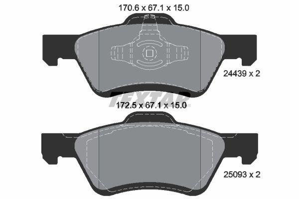 FORD USA ESCAPE 2006 Bremsklötze - Original TEXTAR 2443901 Höhe: 67,1mm, Breite 1: 170,6mm, Breite 2: 172,5mm, Dicke/Stärke: 15mm