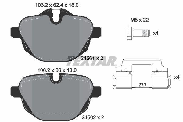 BMW X5 2015 Bremsklötze - Original TEXTAR 2456101 Höhe 1: 62,4mm, Höhe 2: 56mm, Breite: 106,2mm, Dicke/Stärke: 18mm