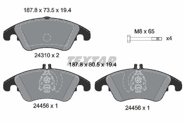 MERCEDES-BENZ CLS 2013 Bremsbelagsatz Scheibenbremse - Original TEXTAR 2431081 Höhe 1: 73,5mm, Höhe 2: 80,5mm, Breite: 187,8mm, Dicke/Stärke: 19,4mm