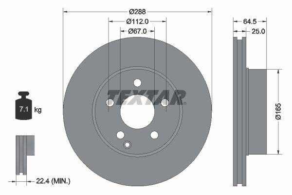 MERCEDES-BENZ C-Klasse 2015 Bremsscheibe - Original TEXTAR 92159603 Ø: 288mm, Bremsscheibendicke: 25mm
