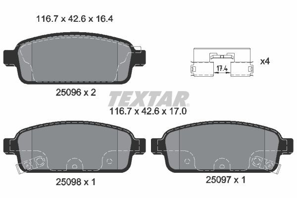 2509602 Bremssteine TEXTAR in Original Qualität