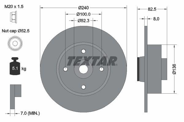 98200154401 TEXTAR Voll, mit Radlager, mit integriertem magnetischen Sensorring Ø: 240mm, Bremsscheibendicke: 8mm Bremsscheibe 92154400 günstig kaufen