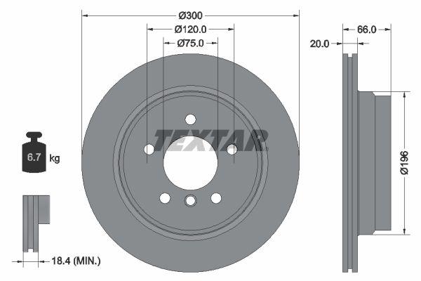 BMW X1 2020 Scheibenbremsen - Original TEXTAR 92154903 Ø: 300mm, Bremsscheibendicke: 20mm