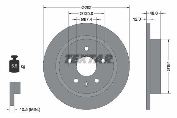 TEXTAR: Original Bremsscheibe 92222903 (Ø: 292mm, Bremsscheibendicke: 12mm)