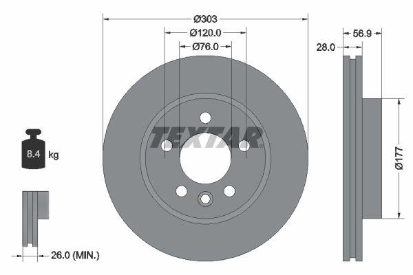 Achetez Disque TEXTAR 92228903 (Ø: 303mm, Épaisseur du disque de frein: 28mm) à un rapport qualité-prix exceptionnel