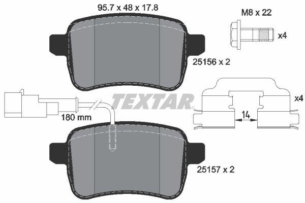 DODGE DART 2019 Scheibenbremsbeläge - Original TEXTAR 2515601 Höhe: 48mm, Breite: 95,7mm, Dicke/Stärke: 17,8mm
