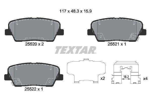 TEXTAR: Original Bremsbelagsatz Scheibenbremse 2552001 (Höhe: 48,3mm, Breite: 117mm, Dicke/Stärke: 15,5mm)