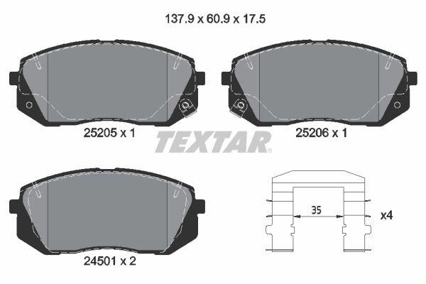 2520501 Bremssteine TEXTAR in Original Qualität
