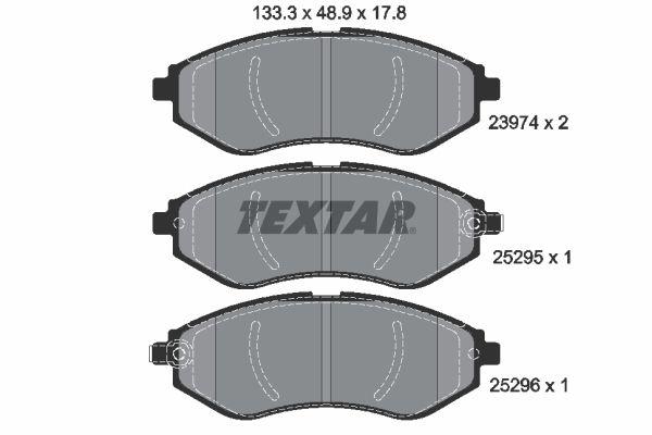 25296 TEXTAR mit akustischer Verschleißwarnung Höhe: 48,9mm, Breite: 133,3mm, Dicke/Stärke: 17,8mm Bremsbelagsatz, Scheibenbremse 2397406 günstig kaufen