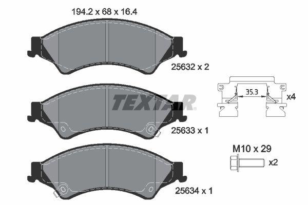 MAZDA BT-50 2015 Tuning - Original TEXTAR 2563201 Höhe: 68mm, Breite: 194,2mm, Dicke/Stärke: 16,4mm