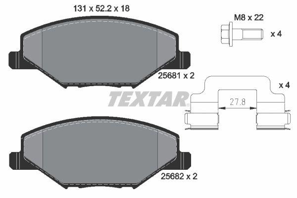 Achetez Kit de plaquettes de frein TEXTAR 2568101 (Hauteur: 52,2mm, Largeur: 131mm, Épaisseur: 18mm) à un rapport qualité-prix exceptionnel