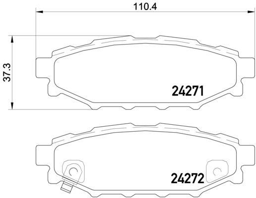 SUBARU FORESTER 2018 Bremssteine - Original BREMBO P 78 020 Höhe: 37,3mm, Breite: 110,4mm, Dicke/Stärke: 14,7mm