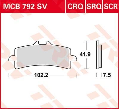 Moto TRW Sinter Carbon Racing Höhe: 41,9mm, Dicke/Stärke: 8,1mm Bremsbelagsatz, Scheibenbremse MCB792SCR günstig kaufen