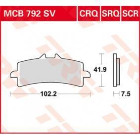 Osta mootorratas TRW Sinter Carbon Racing Kõrgus: 41,9mm, Jämedus/tugevus: 8,1mm Piduriklotsi komplekt, ketaspidur MCB792SCR madala hinnaga