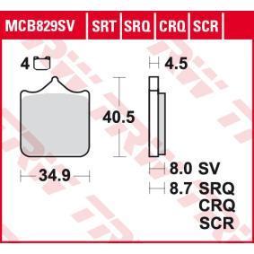 Moto TRW Sinter Carbon Racing Höhe: 40,5mm, Dicke/Stärke: 9mm Bremsbelagsatz, Scheibenbremse MCB829SCR kaufen