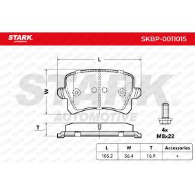 SKBP-0011015 STARK exkl. Verschleißwarnkontakt Höhe: 56,4mm, Breite: 105,2mm, Dicke/Stärke: 16,9mm Bremsbelagsatz, Scheibenbremse SKBP-0011015 günstig kaufen