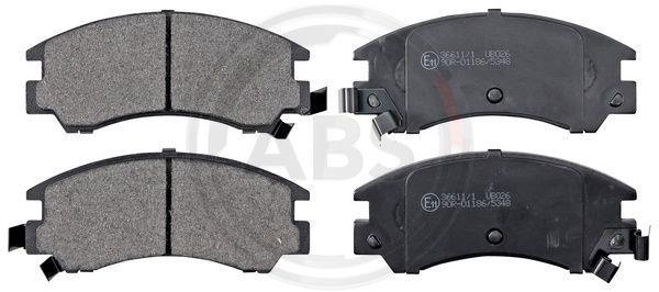 SUBARU LEONE 1994 Bremsklötze - Original A.B.S. 36611/1 Höhe 1: 54,8mm, Breite 1: 127mm, Dicke/Stärke 1: 18mm