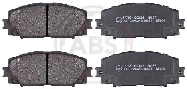 37755 A.B.S. ohne integrierten Verschleißsensor Höhe 1: 49,6mm, Breite 1: 122,7mm, Dicke/Stärke 1: 16,3mm Bremsbelagsatz, Scheibenbremse 37755 günstig kaufen