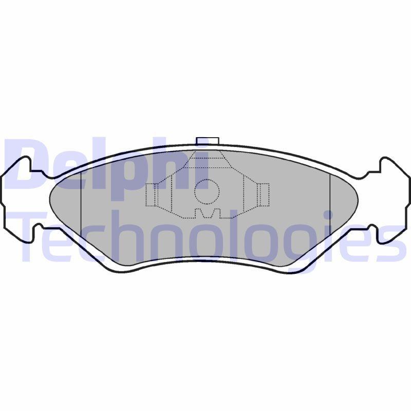 Bremsbeläge FORD Fiesta Mk3 Courier (F3L, F5L) hinten + vorne 1991 - DELPHI LP591 (Höhe 2: 45mm, Höhe: 45mm, Dicke/Stärke 1: 18mm, Dicke/Stärke 2: 18mm)