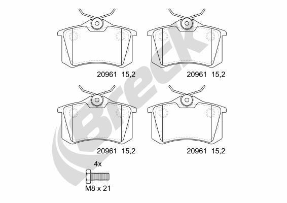 20961 00 704 00 BRECK nicht für Verschleißwarnanzeiger vorbereitet Höhe: 52,8mm, Dicke/Stärke: 15,2mm Bremsbelagsatz, Scheibenbremse 20961 00 704 00 günstig kaufen