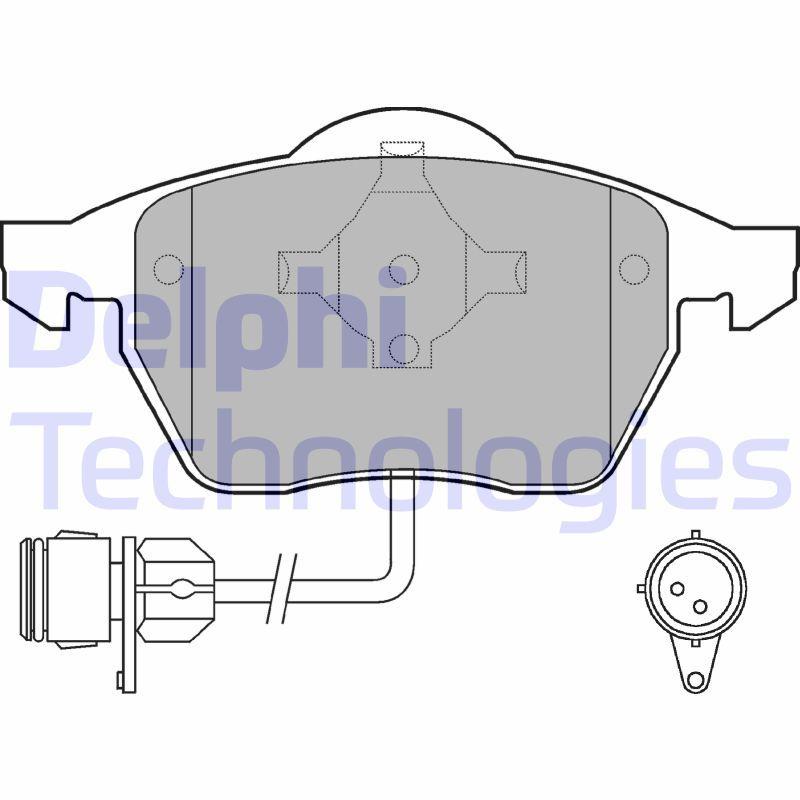 D5557434 DELPHI inkl. Verschleißwarnkontakt, mit integriertem Verschleißsensor Höhe 2: 74mm, Höhe: 74mm, Dicke/Stärke 1: 19mm, Dicke/Stärke 2: 19mm Bremsbelagsatz, Scheibenbremse LP784 günstig kaufen