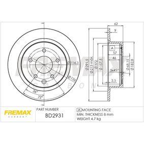 BD2931 Bremsscheibe FREMAX BD-2931 - Große Auswahl - stark reduziert