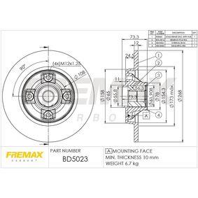 BD-5023 FREMAX Premium Black Carbon +, Bakaxel, Solid, delbelagd, med integrerat hjullager, med inbyggd magnetisk sensorring Ø: 268mm, Bromsskivetjocklek: 12mm Bromsskiva BD-5023 köp lågt pris