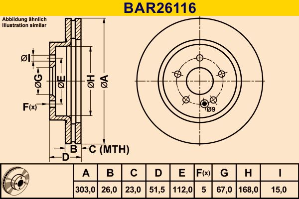 Спирачен диск BAR26116 Barum — само нови детайли