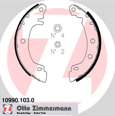 10990.103.0 ZIMMERMANN mit Zubehör Breite: 38mm Bremsbackensatz 10990.103.0 günstig kaufen