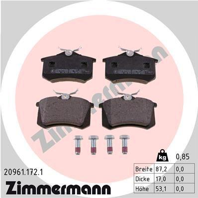ZIMMERMANN: Original Bremsbeläge 20961.172.1 (Höhe: 53mm, Breite: 87mm, Dicke/Stärke: 17mm)