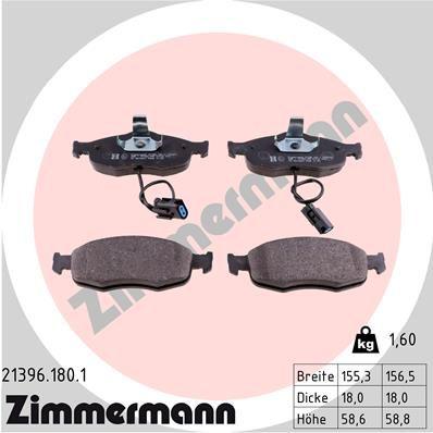 Bremsbelagsatz Scheibenbremse ZIMMERMANN 21396.180.1