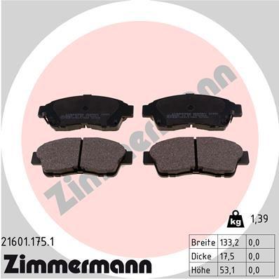 Kit pastiglie freno 21601.175.1 con un ottimo rapporto ZIMMERMANN qualità/prezzo