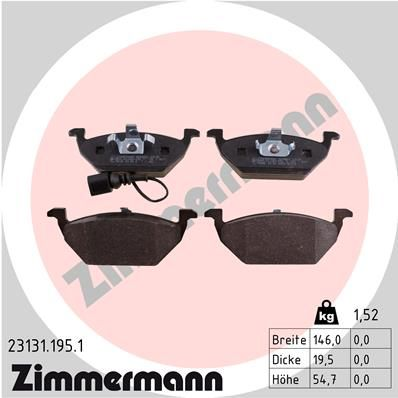 VW POLO 2015 Bremsklötze - Original ZIMMERMANN 23131.195.1 Höhe: 55mm, Breite: 146mm, Dicke/Stärke: 20mm
