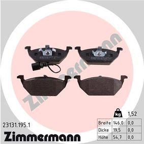 D7687709 ZIMMERMANN inkl. Verschleißwarnkontakt Höhe: 54,7mm, Breite: 146,0mm, Dicke/Stärke: 19,5mm Bremsbelagsatz, Scheibenbremse 23131.195.1 günstig kaufen