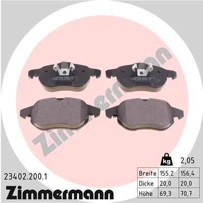 ZIMMERMANN: Original Bremsbelagsatz Scheibenbremse 23402.200.1 (Höhe 1: 70mm, Höhe 2: 71mm, Breite 1: 155mm, Breite 2: 156mm, Dicke/Stärke: 20mm)