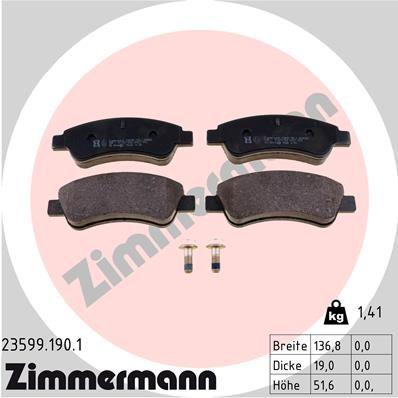 ZIMMERMANN Bremsbelagsatz, Scheibenbremse 23599.190.1