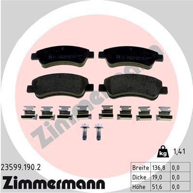 ZIMMERMANN Bremsbelagsatz, Scheibenbremse 23599.190.2