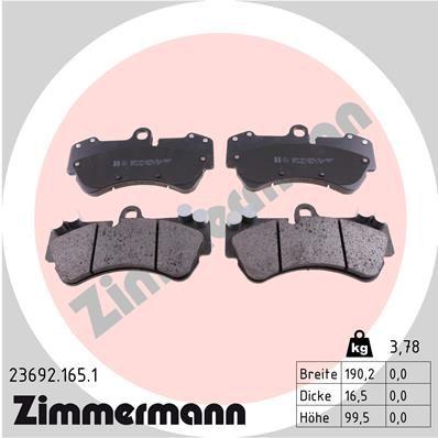 23692 ZIMMERMANN preparado para indicador desgaste Altura: 100mm, Ancho: 190mm, Espesor: 16mm Juego de pastillas de freno 23692.165.1 a buen precio