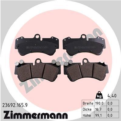 23692 ZIMMERMANN preparado para indicador desgaste Altura: 100mm, Ancho: 190mm, Espesor: 17mm Juego de pastillas de freno 23692.165.9 a buen precio