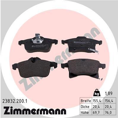 ZIMMERMANN: Original Bremsenteile 23832.200.1 (Höhe 1: 70mm, Höhe 2: 76mm, Breite 1: 155mm, Breite 2: 156mm, Dicke/Stärke: 20mm)