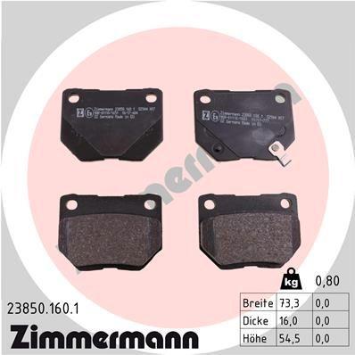 ZIMMERMANN Bremsbelagsatz, Scheibenbremse 23850.160.1