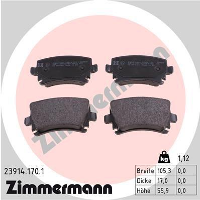 Bremsbelagsatz 23914.170.1 Volkswagen PASSAT 2015