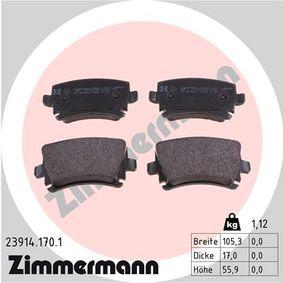 D13488213 ZIMMERMANN für Verschleißwarnanzeiger vorbereitet, ohne Zubehör Höhe: 55,9mm, Breite: 105,3mm, Dicke/Stärke: 17,0mm Bremsbelagsatz, Scheibenbremse 23914.170.1 günstig kaufen