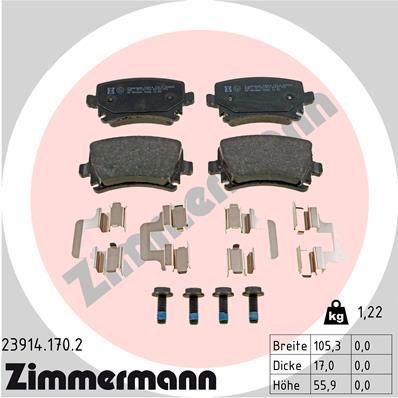 Bremsbelagsatz Touran 1T1, 1T2 hinten + vorne 2003 - ZIMMERMANN 23914.170.2 (Höhe: 56mm, Breite: 105mm, Dicke/Stärke: 17mm)