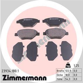 23934 ZIMMERMANN Höhe: 54mm, Breite: 123mm, Dicke/Stärke: 18mm Bremsbelagsatz, Scheibenbremse 23934.180.1 günstig kaufen