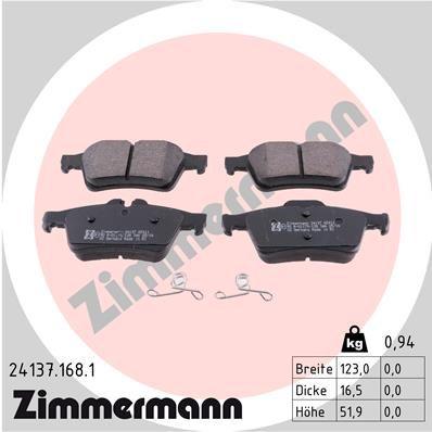 Bremssteine Ford Focus mk2 Limousine hinten + vorne 2018 - ZIMMERMANN 24137.168.1 (Höhe: 52mm, Breite: 123mm, Dicke/Stärke: 16mm)